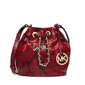 Michael Kors Red Snakeskin Small Frankie Bag